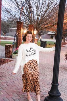 Brighton Leopard Skirt - Ada Faye Modest Outfits, Modest Fashion, Bohemian Style Dresses, Leopard Skirt, Hello Beautiful, Brighton, Pairs, My Style, Model