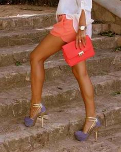 Love these shoes and shorts!..if only I could walk up stairs in those shoes