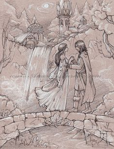 I got commissioned to do Aragorn and Arwen from Lord of the Rings on the famous Rivendell bridge scene! Aragorn and Arwen Aragorn E Arwen, Dragon Day, Medieval, Jrr Tolkien, Illustrations, Middle Earth, Lord Of The Rings, Lotr, The Hobbit