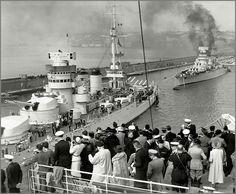 Italian battleships Conte di Cavour and Giulio Cesare, Napoli, 1938.[1450x1194]