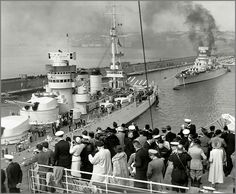 Heavily modernised 12.8 in WW1 vintage Italian battleships Conte di Cavour and Giulio Cesare at Naples, 1938.  The former was sunk by British carrier aircraft from HMS Illustrious during the famous Taranto raid in November 1940.