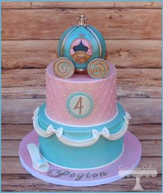 My Fave Tiered Cinderella Carriage Cake Ever - by Cuteology Cakes on CakesDecor… Baby Cakes, Girly Cakes, Fondant Cakes, Cupcake Cakes, Carriage Cake, Gateaux Cake, Birthday Cake Girls, Cinderella Birthday Cakes, Cinderella Theme