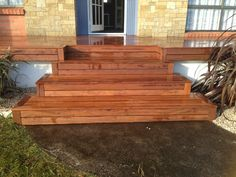 New wider front steps to new deck in Merbau