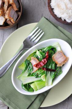 Bok Choy with Crispy Pork | Pad Pak Moo Grob