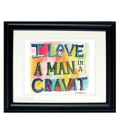 I Love a Man in a Cravat 8 x 10 print of an original watercolor painting inspired by Jane Austen $16.00