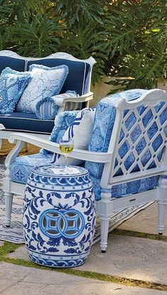 Outdoor furniture blue and white outdoor cushions, chairs screen porch LK screen porch chairs, LK mine, Chinoiserie Garden Stool adds cultured charm to patios and garden sitting areas. Garden Sitting Areas, Garden Furniture, Outdoor Furniture, Outdoor Rooms, Outdoor Decor, Outdoor Living, Outdoor Gardens, Blue Cushions, Outdoor Cushions