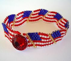 Wavy US Flag Beaded Bracelet Red White Blue by AllKindsofArt, $25.00