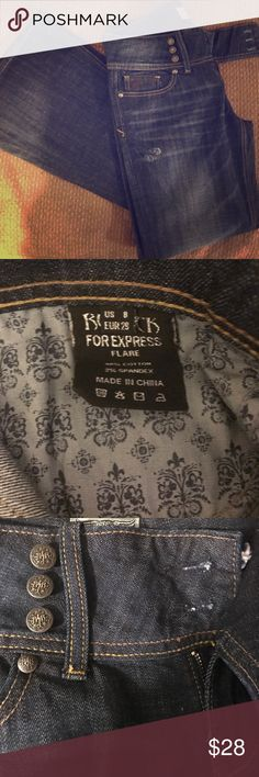 Flare leg Express Jeans Be Rock by Express Flare leg Jeans. Designs on back pocket. Gently worn 2xs. These were my favorite jeans. The Fit is sexy and the jeans are simply to die for!!! Express Pants Boot Cut & Flare