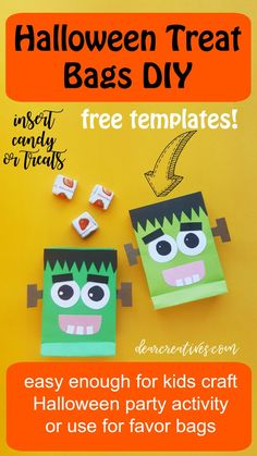 Candy bags for kids party. Or make it for a Halloween kids activity or party favors. Halloween Party Activities, Diy Halloween Treats, Halloween Candy Bags, Halloween Favors, Halloween Crafts For Kids, Easy Halloween, Paper Bags, Frankenstein, Templates