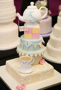 It did not even occur to me at the time, but a teapot cake would have suited us really well! If we'd had a shaped cake or an icing topper, it definitely should have been teapot shaped! Hats off to this couple for this idea. Gorgeous Cakes, Pretty Cakes, Amazing Cakes, Tea Cakes, Cupcake Cakes, Afternoon Tea Wedding, Teapot Cake, Novelty Cakes, Occasion Cakes