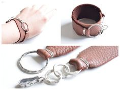 Sterling silver leather bracelet by Jooni Jewelry