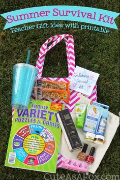 Summer Survival Kit - End of year Teacher gift with printable #ad