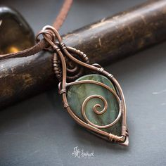 Copper wire wrapped pendant // Green labradorite wire wrapped