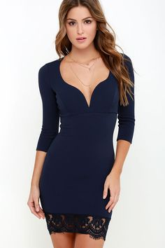 Stroke of Midnight Navy Blue Lace Dress at Lulus.com!