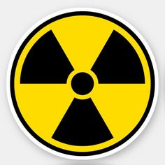 'Nuclear radiation symbol, black border' Sticker by Mhea Bubble Stickers, Cool Stickers, Printable Stickers, Laptop Stickers, Bumper Stickers, Sticker Vinyl, Cd Wall Art, Cd Art, Aesthetic Stickers
