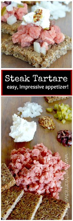 Steak Tartare, one of the easiest recipes you'll ever make. Perfect for a party, each person can mix their own flavor accents to order. thus pleasing the most picky, yet adventuresome guests! Appetizers For A Crowd, Easy Appetizer Recipes, Healthy Appetizers, Snack Recipes, Party Recipes, Party Appetizers, Snacks, Dinner Recipes, Steak Tartare