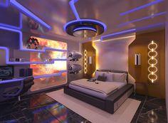 Design Futuristic Bedroom Design Idea Blue Yelow Led