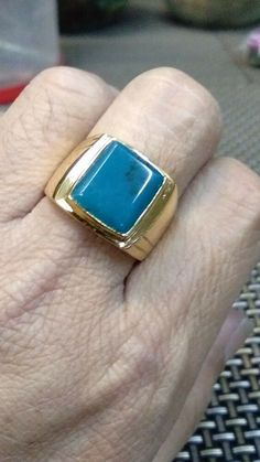Bluis!! Gem Silica Chrysocolla Silver Ring chrome Gold - From INDONESIA