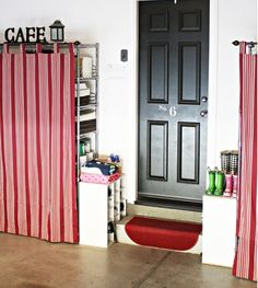 Use tab curtains to hide shelving unit or messy open shelves