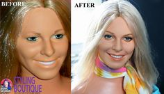 Noel Cruz Before and After | Lindsay Wagner Bionic Woman doll bust repaint (before and after)