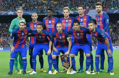 (Top from L) Barcelona's German goalkeeper Marc-Andre Ter Stegen, Barcelona's Argentinian defender Javier Mascherano, Barcelona's French defender Samuel Umtiti, Barcelona's Croatian midfielder Ivan Rakitic, Barcelona's midfielder Sergio Busquets and Barcelona's defender Gerard Pique and (bottom from L) Barcelona's Argentinian forward Lionel Messi, Barcelona's Brazilian forward Neymar, Barcelona's midfielder Andres Iniesta, Barcelona's Uruguayan forward Luis Suarez and Barcelona's defender…