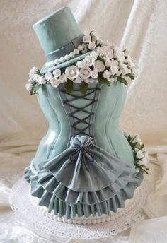 Antique blue corset Steampunk wedding cake