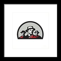 Gauchos Half Circle Retro Framed Print by Aloysius Patrimonio. Illustration of a group of gauchos set inside half circle shape on isolated background done in retro style. #illustration #GauchosHalf
