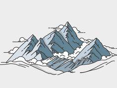 Illustration by Meg Robichaud Illustration Ligne, Illustration Design Graphique, Line Illustration, Line Design, Icon Design, Design Art, Mountain Illustration, Grafik Design, Line Art
