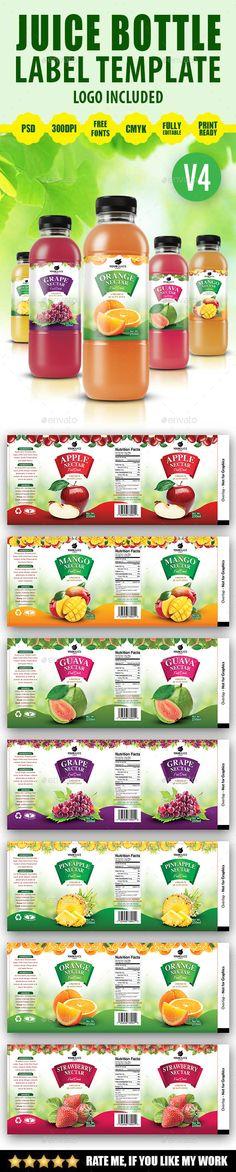 #Juice Bottle Label Template V4 - #Print #Templates Download here: https://graphicriver.net/item/juice-bottle-label-template-v4/19582601?ref=alena994