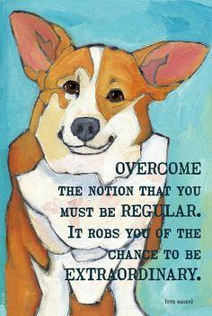 Overcome inspirational motivational humorous dog breed artwork corgi mutt portrait 2x3 magnet on Etsy, $6.00