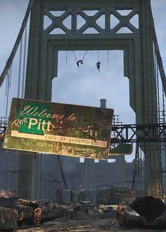 The Pitt - Fallout Wiki Fallout Lore, Fallout Fan Art, Fallout Concept Art, Apocalypse World, Apocalypse Art, Apocalypse Landscape, Post Apocalyptic City, Apocalypse Aesthetic, Zombie Survival Gear