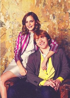 Emma and Rupert. (Only for the moment, let's pretend this is Ron and Hermione's engagement photo.)
