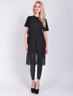 Платья, Платье с сеткой черный
