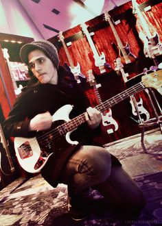 Mikey Way and a bass
