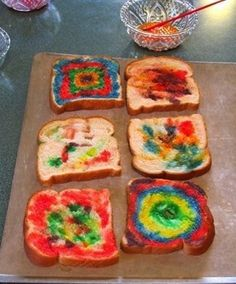 Paint bread with milk and food coloring