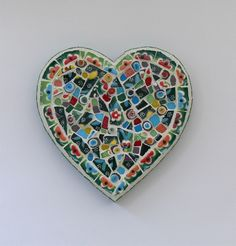 Flowers Mosaic Heart By Rana Cullimore--Available at www.ranacullimore.co.uk www.notonthehighstreet.com/ranacullimore/product/flowers-and-beads-mosaic-heart-wall-art