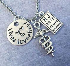 Live Love Heal Optometrist Necklace  Optometrist by LulusStampings