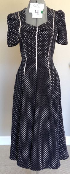 Stock Dress: black and white polka dot dress with extra-wide hem - great for dancing!