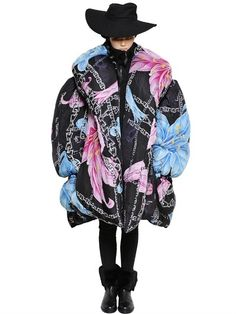 ON SALE WAS: $12,457.00 NOW: $8,719.00 Oversize Print Silk Crepe De Chine Coat Posted on December 20, 2014	 No closure Elastic cuffs Non detachable mittens End of sleeve has opening Two side pockets Flower, skull and chain print may vary slightly Cotton filling Silk lining Made in Japan Sample size: II
