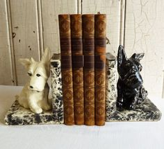 Vintage Black and White Scottie Dog Bookends - Painted Faux Marble - Mid-Century 1950s - Made in Japan - Dog Lover's Gift