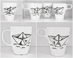 Hand painted paper boat-mugs.