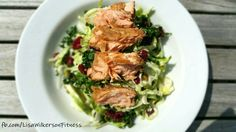 FAST 5 MINUTE LUNCH: Leftover Firecracker Grilled Salmon on top of a kale and cabbage chopped salad kit I found at Costco.  I don't normally use bagged salads but this one with superfood kale, broccoli, Brussels sprouts, cabbage, dried cranberries, and pumpkin seeds intrigued me and is great when you are short on time.  It came with a poppyseed dressing but you can easily leave it out and substitute your own.  Went great with the salmon.