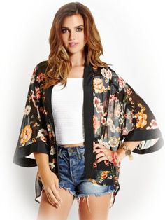 GUESS Women's Three-Quarter Sleeve Kimono Jacket  #guess #kimono #jacket