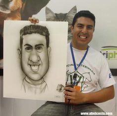 Caricatura ao vivo em papel realizada durante evento para empresa. Todos os convidados receberam a caricatura.  Confira outros tipos de caricatura no site oficial http://abelcosta.com