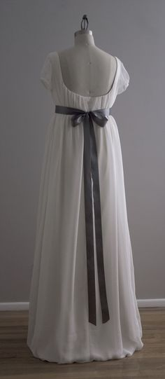 Jane - Wedding Dress - Eco Friendly Long Regency Gown with Cap Sleeves and Empire Waist. $795.00, via Etsy.