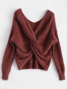 $19.99 Fluffy Twisted Chenille Sweater CLARET: Sweaters | ZAFUL