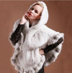 >> Click to Buy << 100% Real Genuine Knitted Mink Fur Poncho Stole Cape Jacket Ladies Vintage winter warm hooded real fur coat shawls for women #Affiliate
