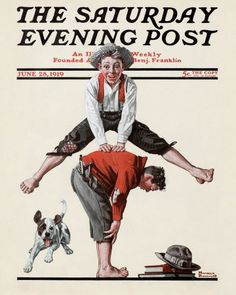 Norman Rockwell's Boys Playing Leapfrog, June 28, 1919 Issue of The Saturday Evening Post