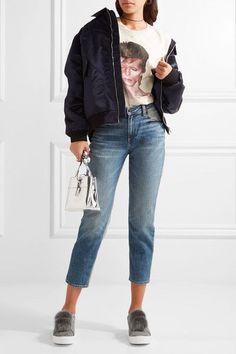 cab291daebf285 Sam Edelman - Leya Faux Fur-embellished Suede Slip-on Sneakers - Gray Slip