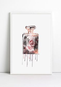 Watercolor Rose CHANEL CC Coco Chanel Parfum Bottle for her Floral Parfum illustration Bathroom Home Decor High Fashion Art Chanel dripping